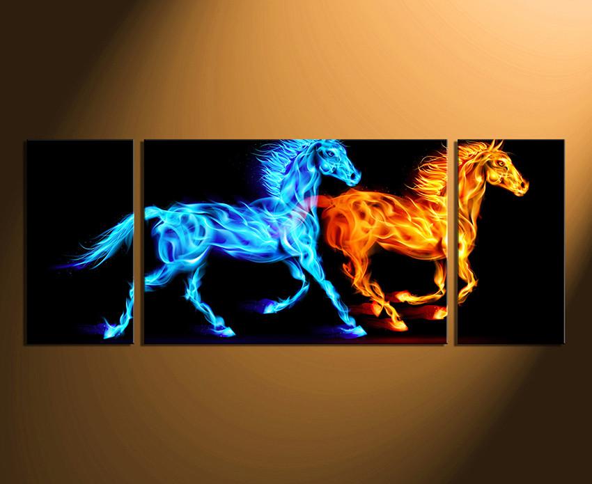 3 Piece Photo Canvas, Horse Canvas Wall Art, Wildlife Huge Canvas Art,  Animal
