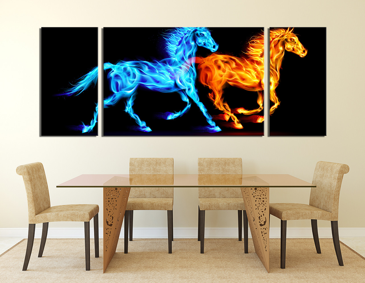 Dining Room Artwork 3 Piece Huge Canvas Print Blue Photo Canvas Horse Wall Decor