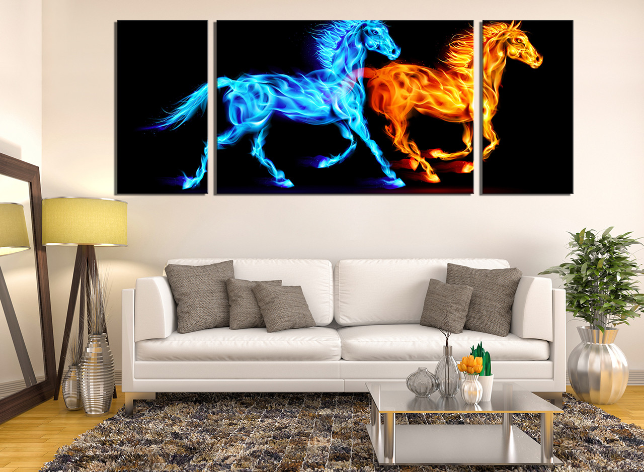 3 Piece Multi Panel Canvas, Living Room Canvas Photography, Horse Art,  Wildlife Group