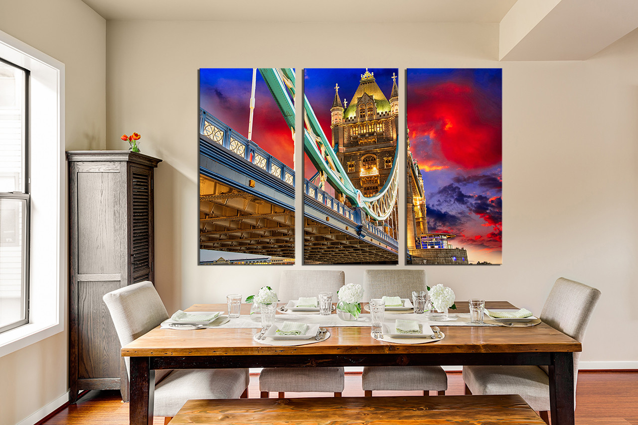 3 Piece Group Canvas Dining Room Artwork City Large Bridge Huge
