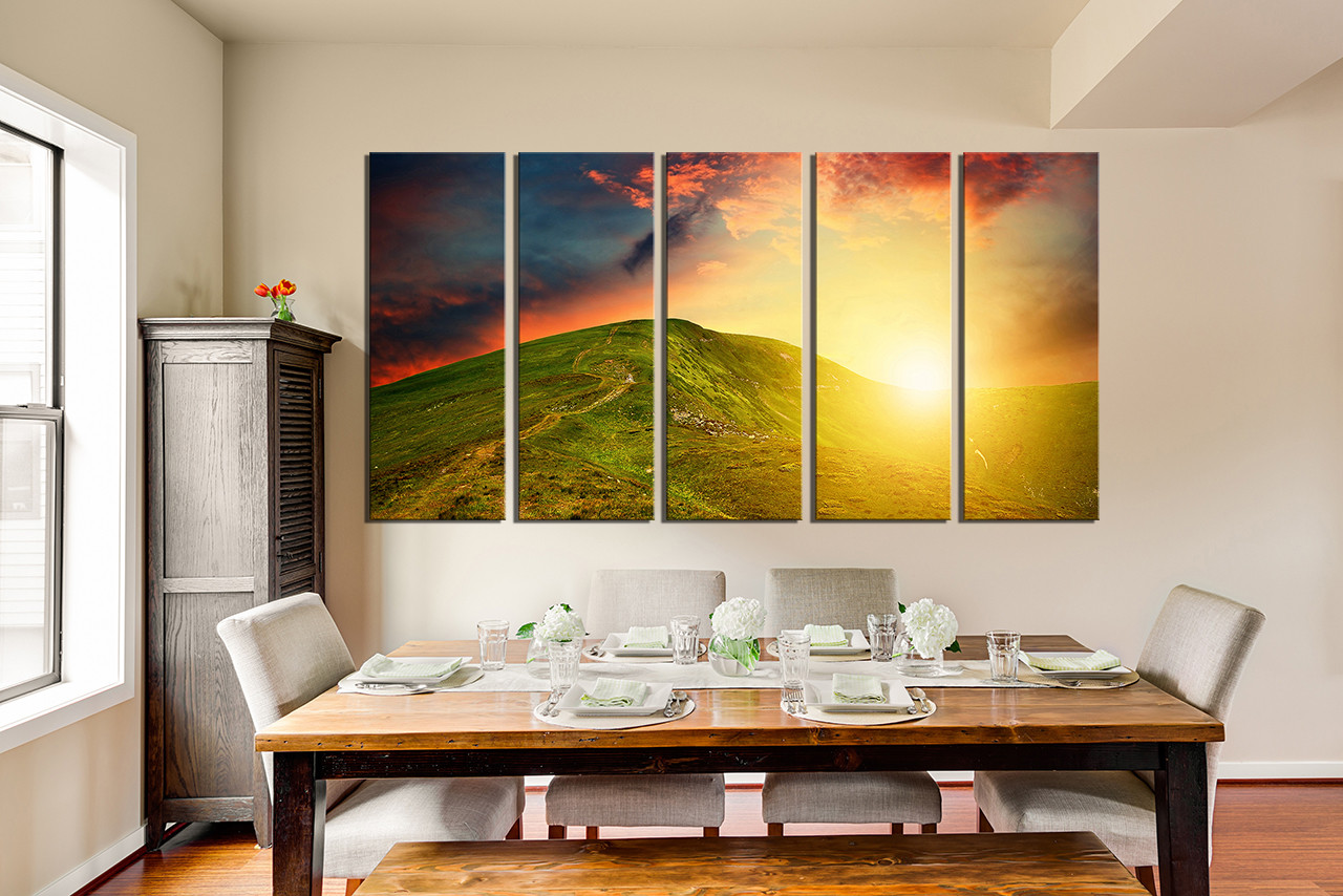 5 Piece Artwork, Landscape Huge Canvas Print, Orange Multi Panel Art ...