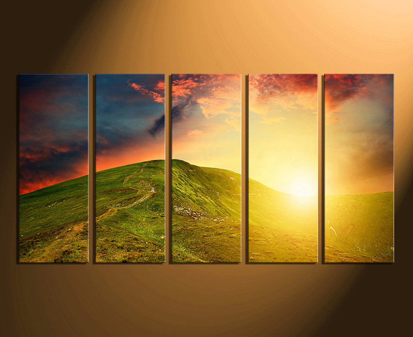 5 Piece Artwork, Landscape Huge Canvas Print, Orange Multi Panel Art ...