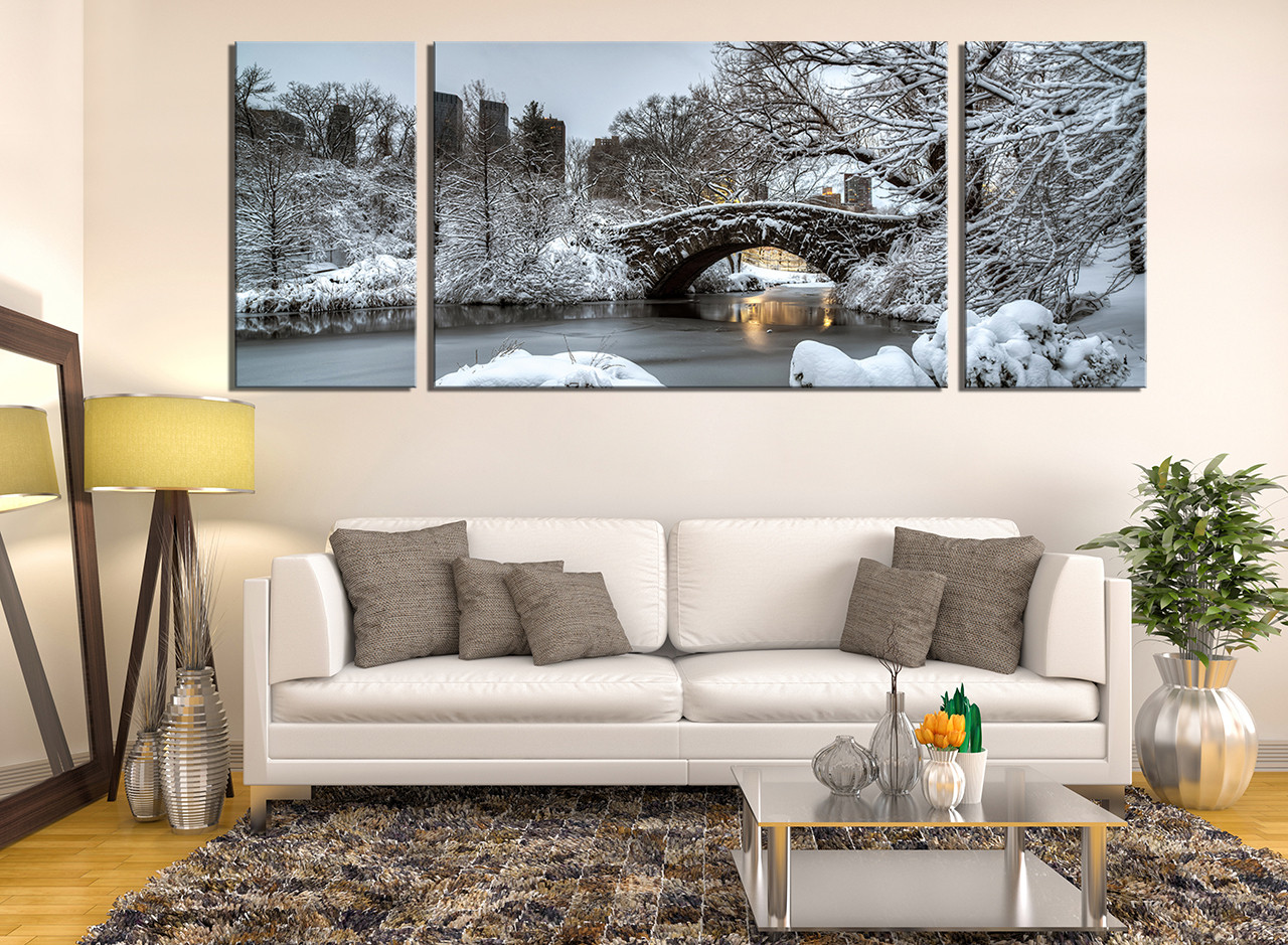 3 Piece Group Canvas Living Room Artwork Scenery Photography Snow Art