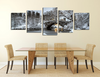 5 piece  canvas print, dining room wall art, scenery large canvas,  snow multi panel art, snow tree group canvas