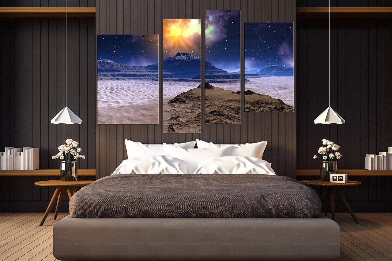 4 piece canvas wall art bedroom canvas print landscape huge canvas art blue