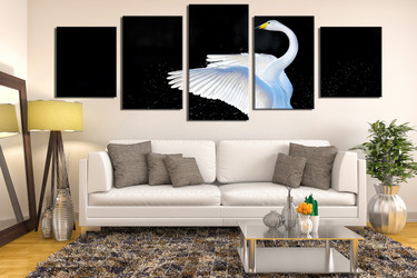 5 piece canvas wall art, panoramic huge pictures, swan canvas photography, wildlife multi panel canvas, bird art