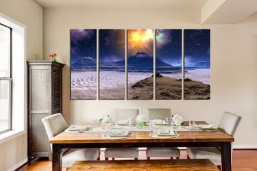 5 piece wall decor, dining room photo canvas, landscape artwork, stars art, mountain huge pictures, sands multi panel art