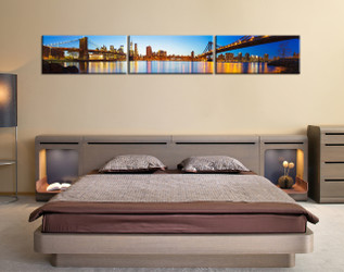 3 piece wall decor,  bedroom large canvas, blue city wall art, city bridge multi panel art, city light art