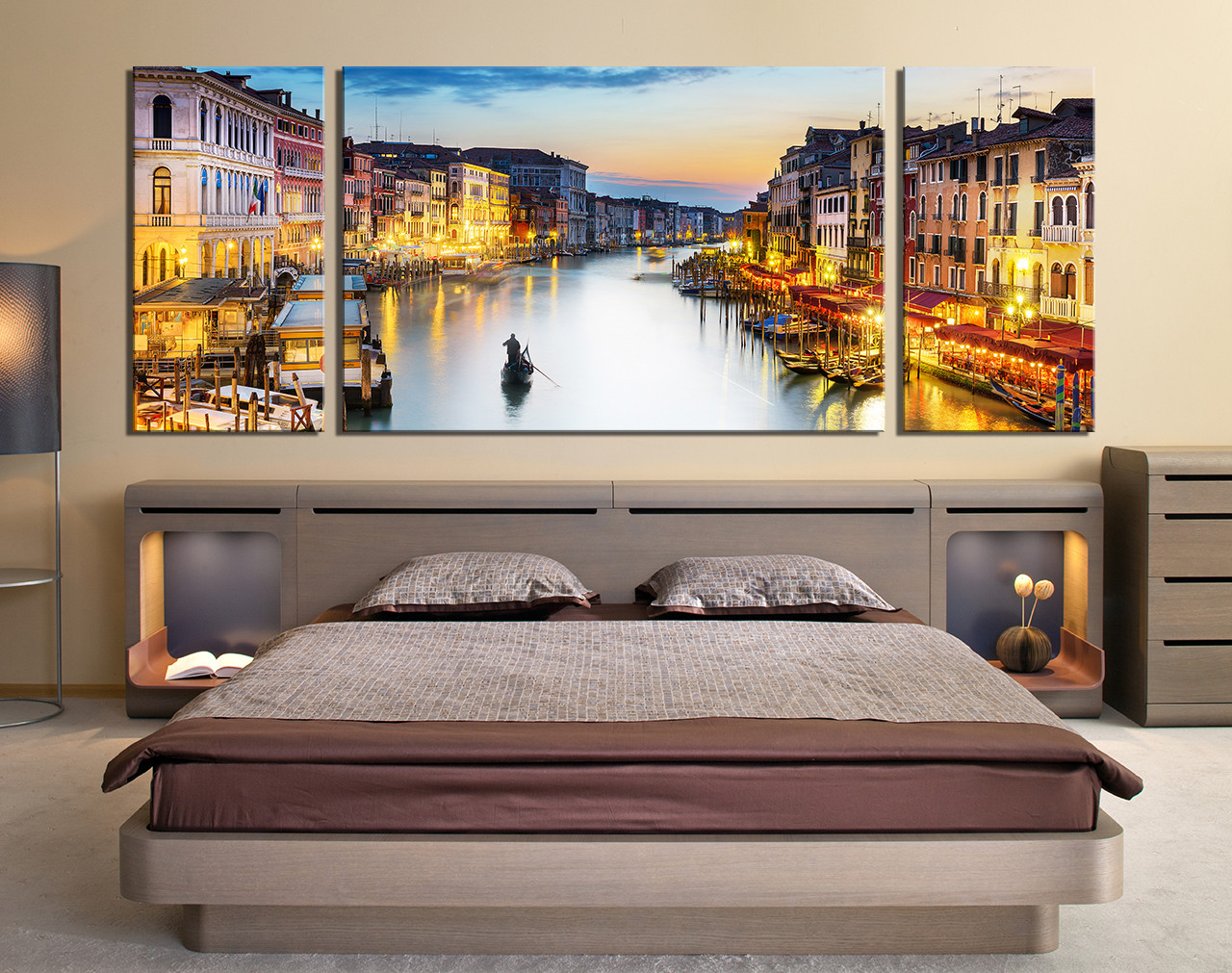 3 Piece Large Pictures Cityscape Wall Decor Boat Multi Panel Art Yellow Huge Canvas Print