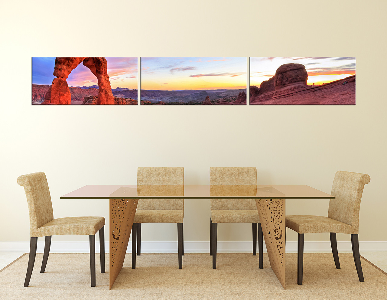 Awesome 3 Piece Large Pictures, Dining Room Canvas Art Prints, Landscape Wall  Decor, Red