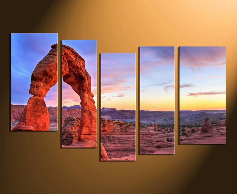5 piece multi panel art landscape canvas photography red. Black Bedroom Furniture Sets. Home Design Ideas