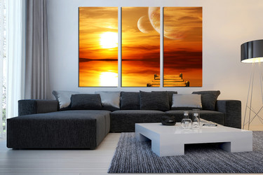 3 piece huge pictures, sunset artwork, orange ocean photo canvas, living room wall art