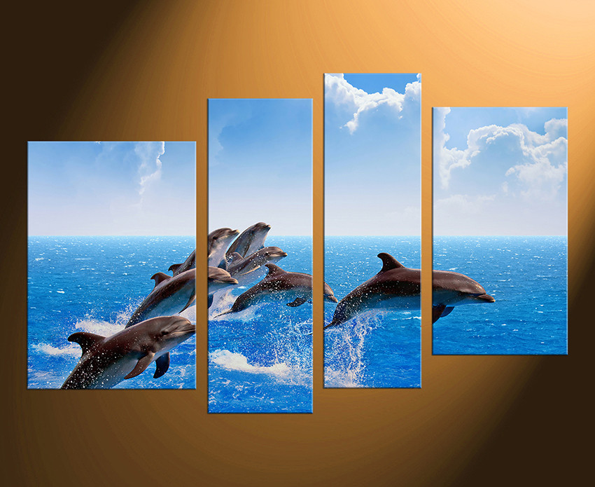 4 Piece Huge Pictures, Home Decor, Fish Canvas Wall Art, Wildlife Large  Pictures