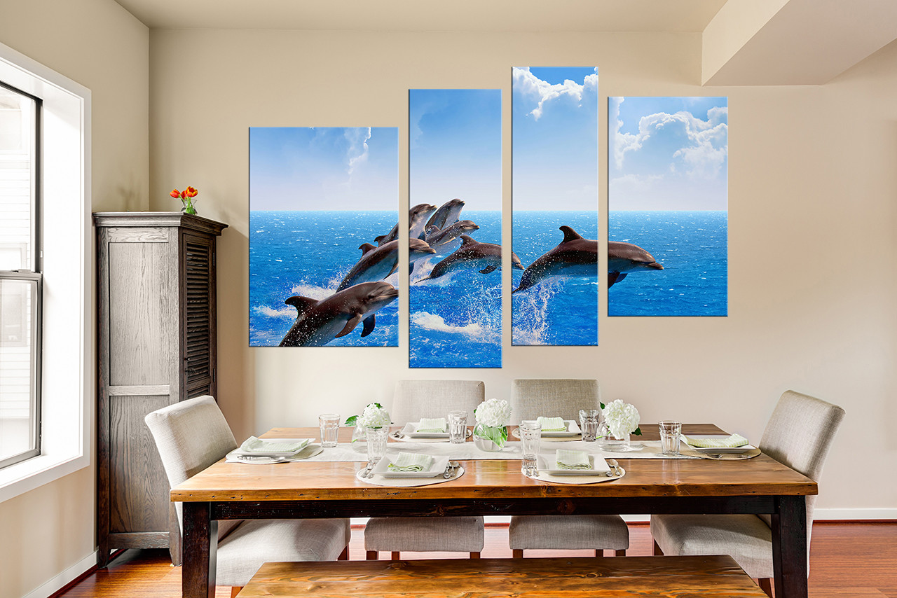 Blue Canvas Wall Art 4 piece huge canvas print, blue canvas photography, ocean canvas