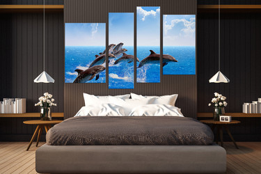 4 piece photo canvas, bedroom canvas wall art, dolphin canvas print, wildlife artwork, fish large pictures