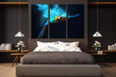 3 piece huge canvas art, bedroom canvas wall art, blue parrot group canvas, bird multi panel canvas, bird canvas photography
