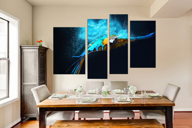 4 piece huge canvas art, bird canvas wall art, blue parrot group canvas, bird multi panel canvas, bird canvas photography, home decor