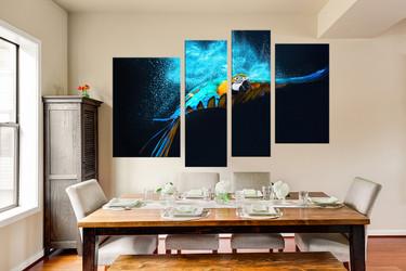 4 piece huge canvas art, bird canvas wall art, blue parrot group canvas, bird multi panel canvas, bird canvas photography, home decor