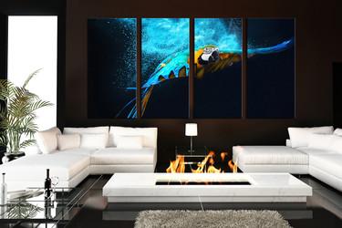 4 piece canvas photography, living room huge canvas print, blue parrot photo canvas, bird photo canvas, wildlife wall art