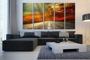 5 piece large pictures, living room multi panel art, landscape wall decor, orange canvas print, scenery large canvas, clouds canvas art prints