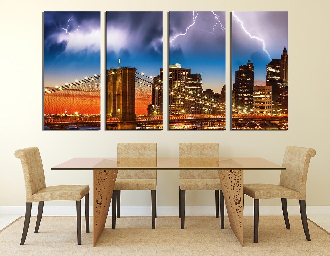 4 piece wall decor city multi panel art brown canvas print thunderstorm photo & 4 Piece Canvas Art Prints Brown Canvas Wall Art Cityscape Multi ...