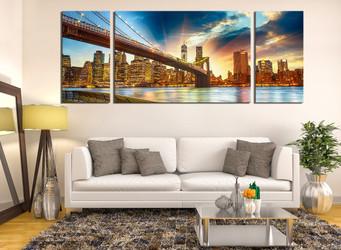 3 piece canvas wall art, living room huge canvas art, city multi panel canvas, bridge group canvas, city artwork
