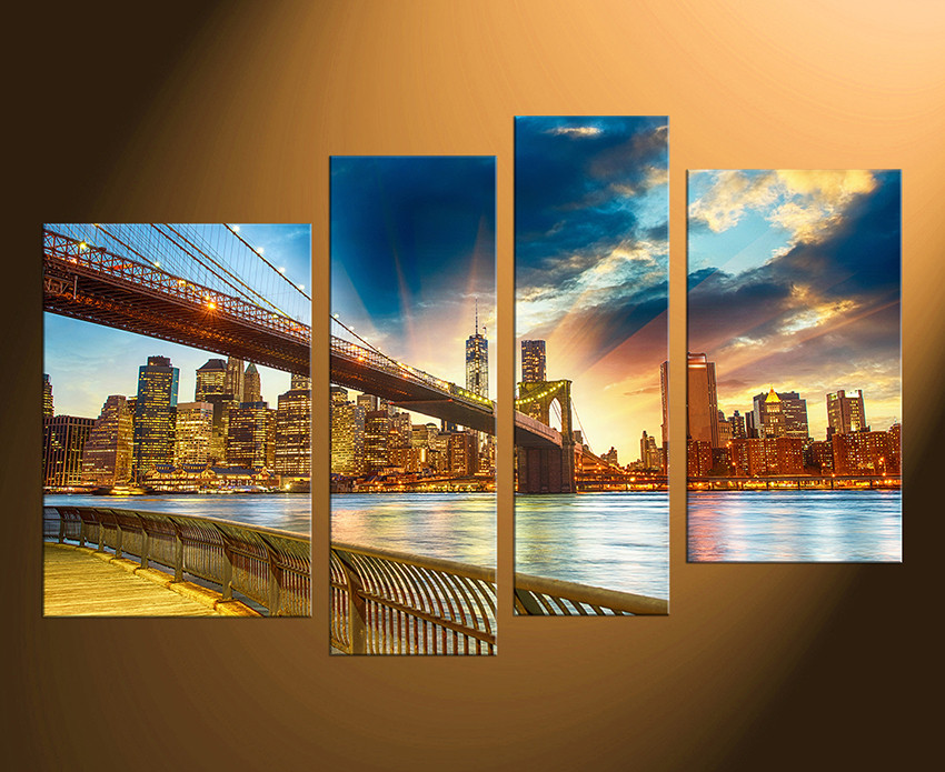 4 Piece Wall Art 4 piece large canvas, brooklyn bridge canvas wall art, cityscape
