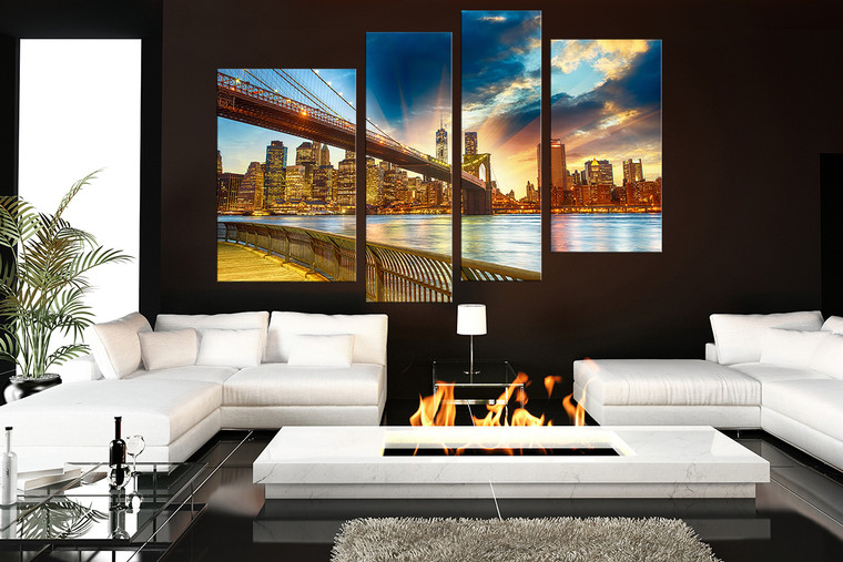 living room with bridge 4 piece large canvas brooklyn bridge canvas wall art cityscape
