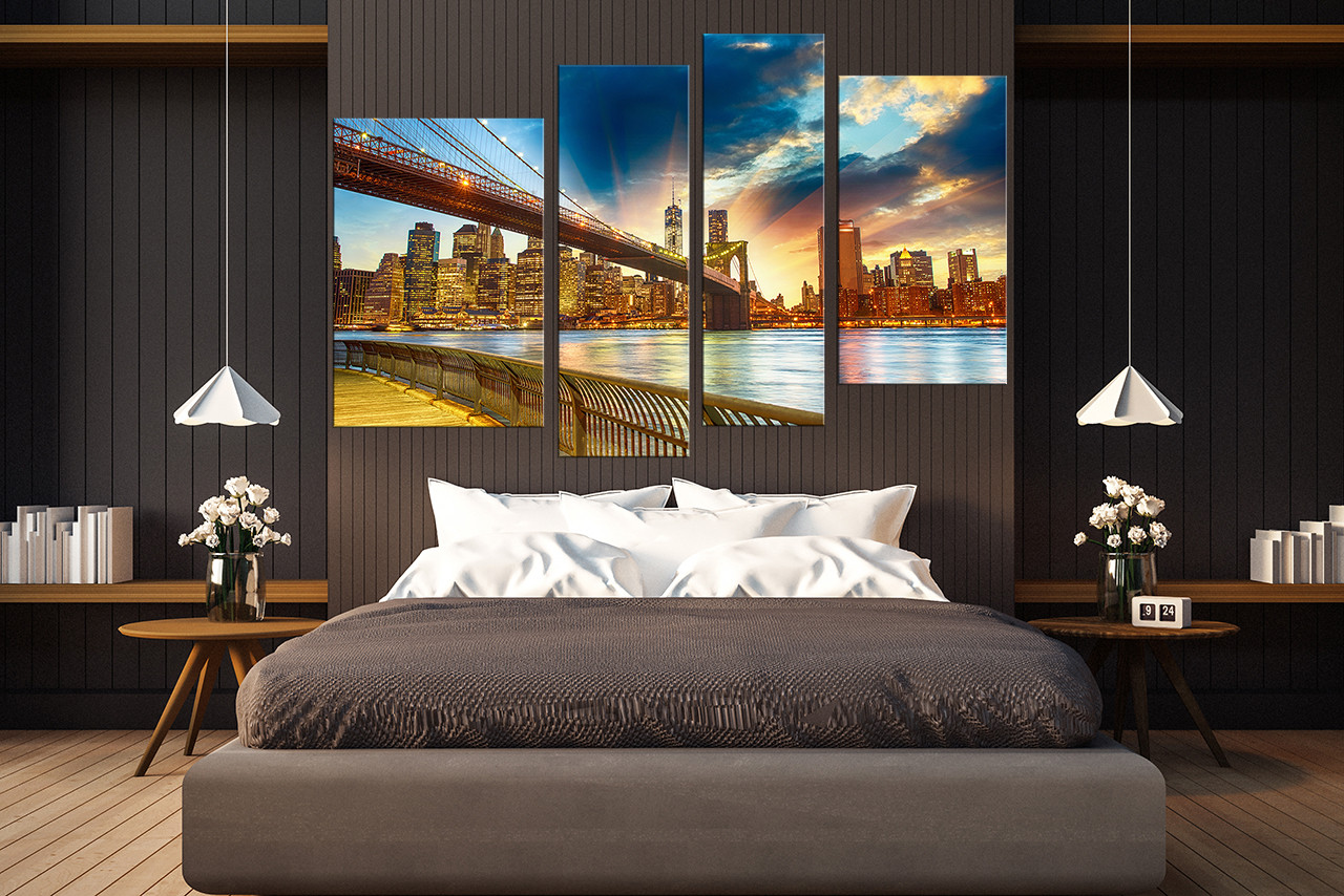Cityscape Wall Art 4 piece large canvas, brooklyn bridge canvas wall art, cityscape