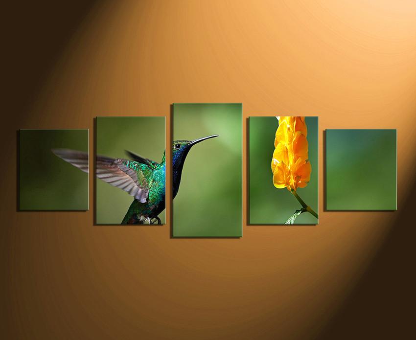 5 Piece Canvas Wall Art, Bird Huge Canvas Print, Flower Multi Panel .