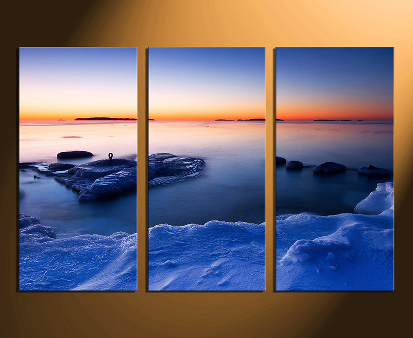 3 Piece Canvas Wall Art, Ocean Huge Canvas Print, Blue Ocean Multi ...