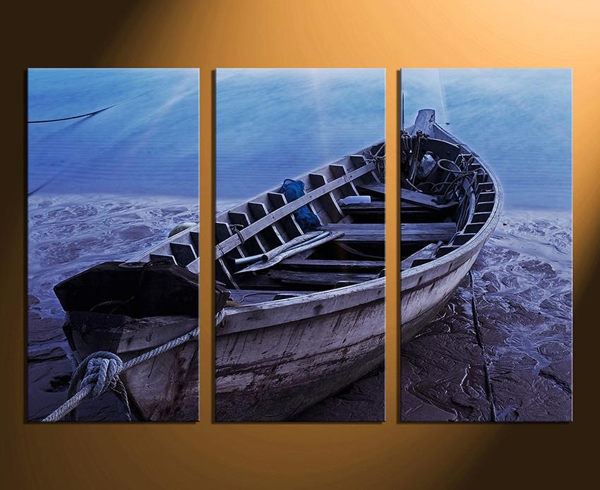 3 Piece Huge Canvas Print, Boat Multi Panel Art, Ocean Canvas ...