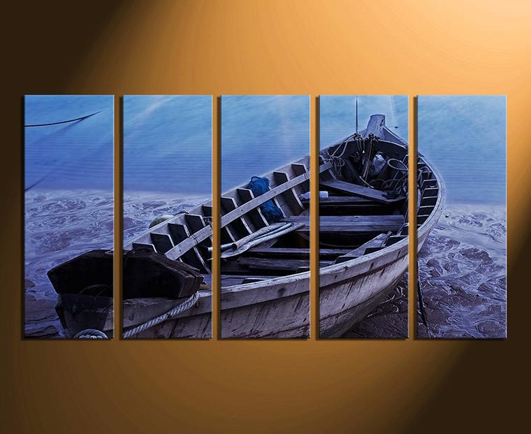 5 piece multi panel art blue sea huge canvas print boat. Black Bedroom Furniture Sets. Home Design Ideas