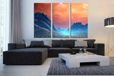 3 piece large canvas, living room canvas art prints, landscape wall art, scenery art, orange huge canvas art, clouds large pictures