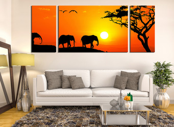 3 piece multi panel canvas, living room canvas photography, orange scenery artwork, elephant large pictures, animal art, wildlife group canvas