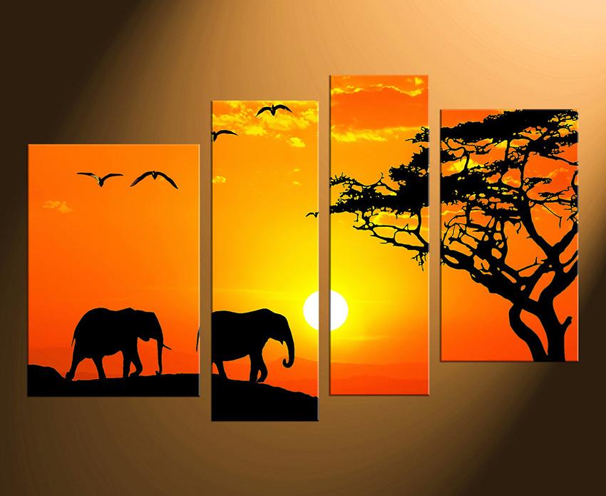 4 Piece Canvas Photography, Elephant Huge Canvas Print, Orange ...