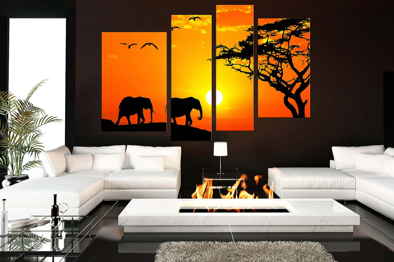 Wall art elephant - 4 Piece Canvas Wall Art Living Room Multi Panel Art Animal Group Canvas