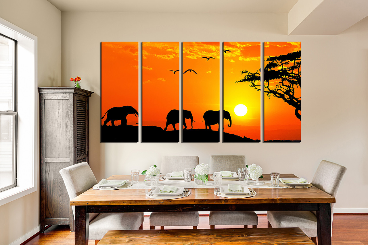 5 piece canvas wall art wildlife wall decor orange canvas art 5 piece canvas print dining room multi panel art animal group canvas wildlife amipublicfo Image collections