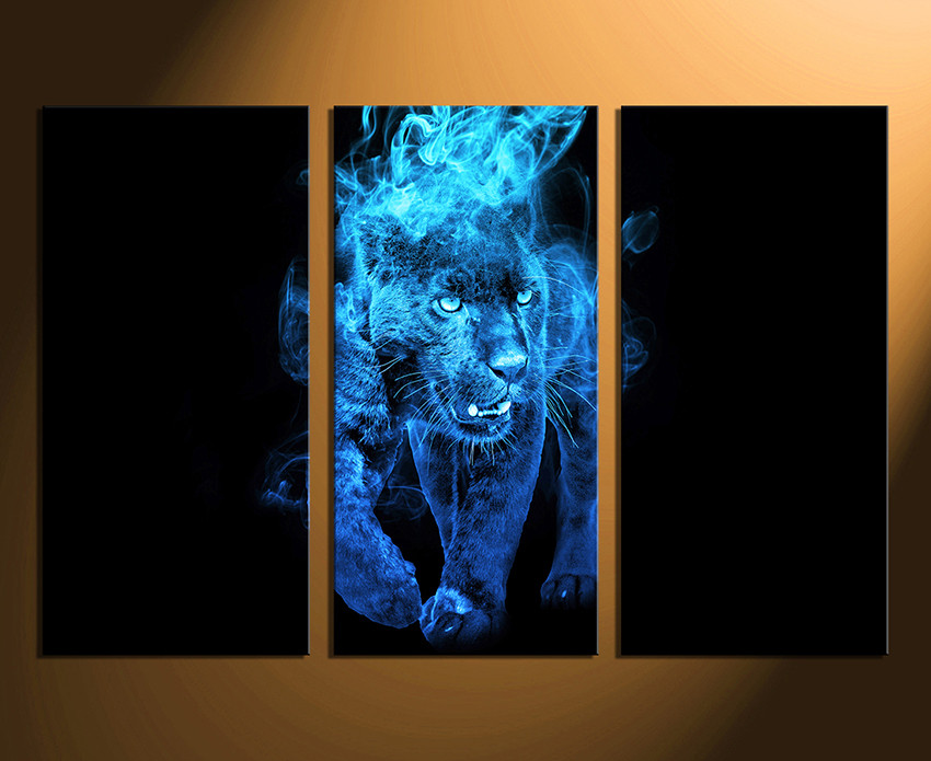 Blue Canvas Wall Art 3 piece canvas wall art, blue huge canvas print, tiger canvas