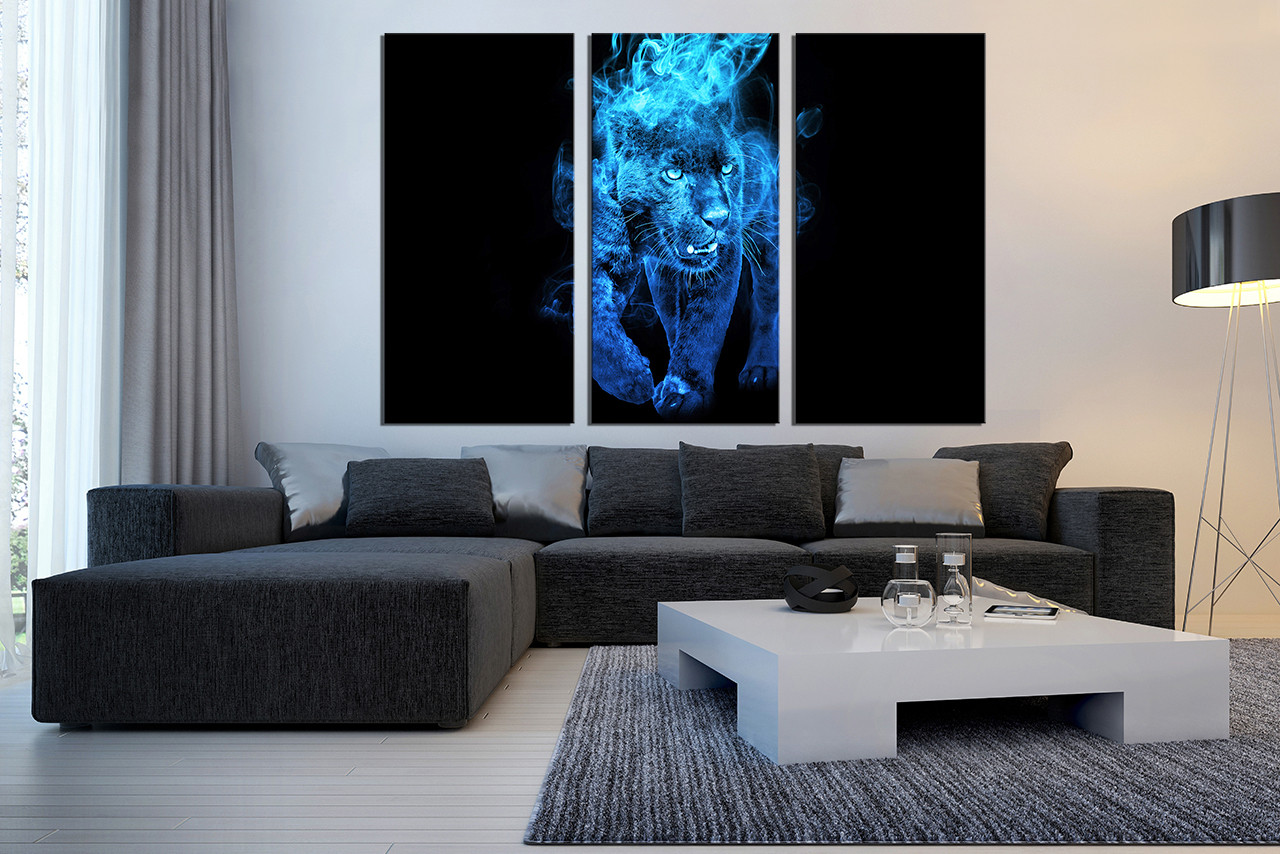 Canvas For Living Room Wall Part - 39: 3 Piece Large Pictures, Living Room Canvas Wall Art, Blue Tiger Decor,  Wildlife