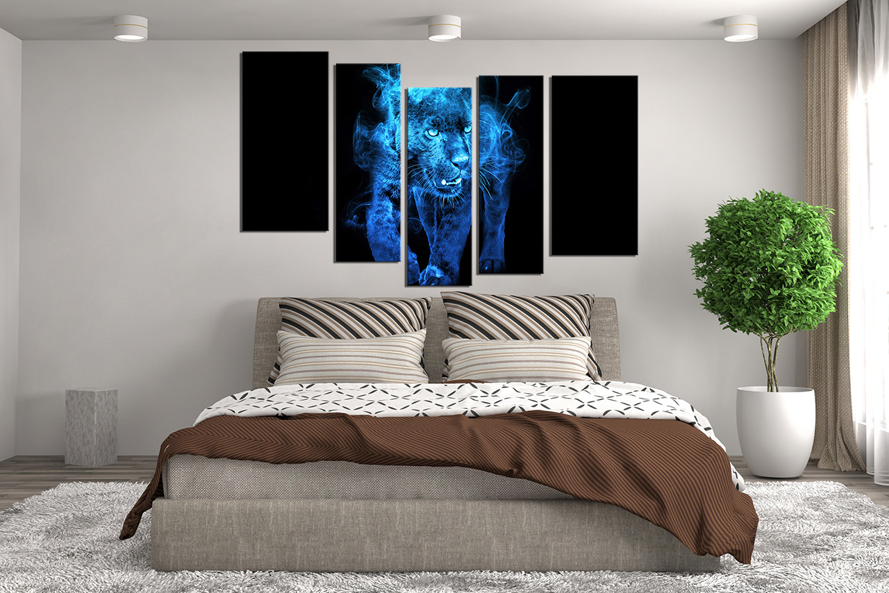 Blue Canvas Wall Art 5 piece canvas wall art, tiger huge canvas print, blue canvas