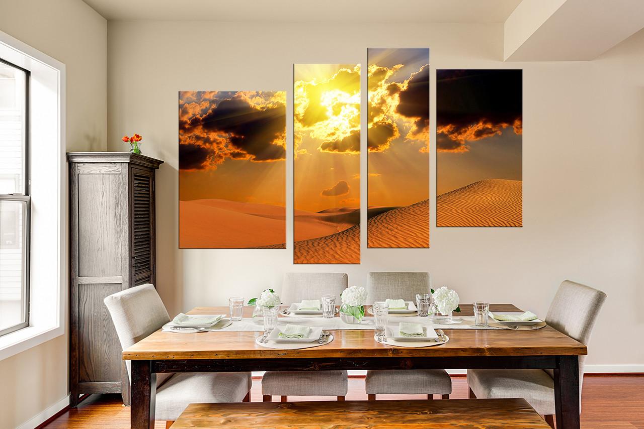 4 Piece Multi Panel Art, Dining Room Huge Canvas Print, Landscape Group  Canvas,