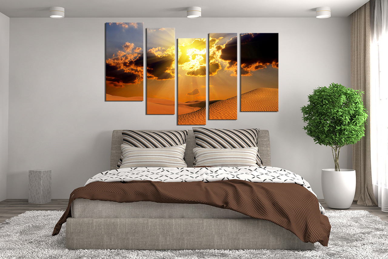 5 Piece Artwork, Landscape Canvas Photography, Desert Multi Panel ...