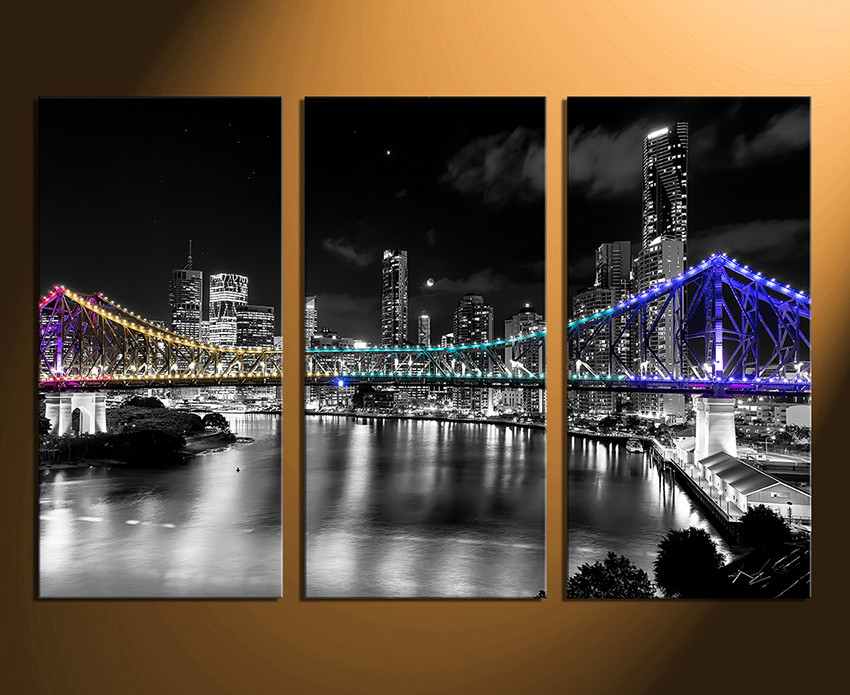 Ordinaire 3 Piece Large Canvas, City Home Decor, Night City Photo Canvas, Bridge  Artwork