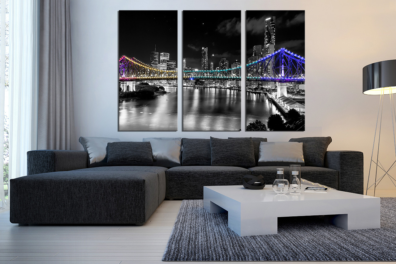 3 piece wall decor living room black and white city art for Piece of living room decor