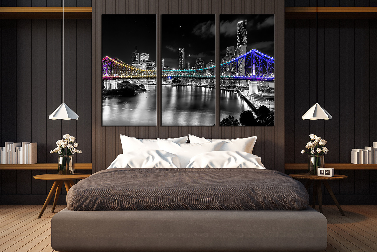 3 Piece Wall Decor, Bedroom Large Pictures, Night City Canvas Print, City  Light