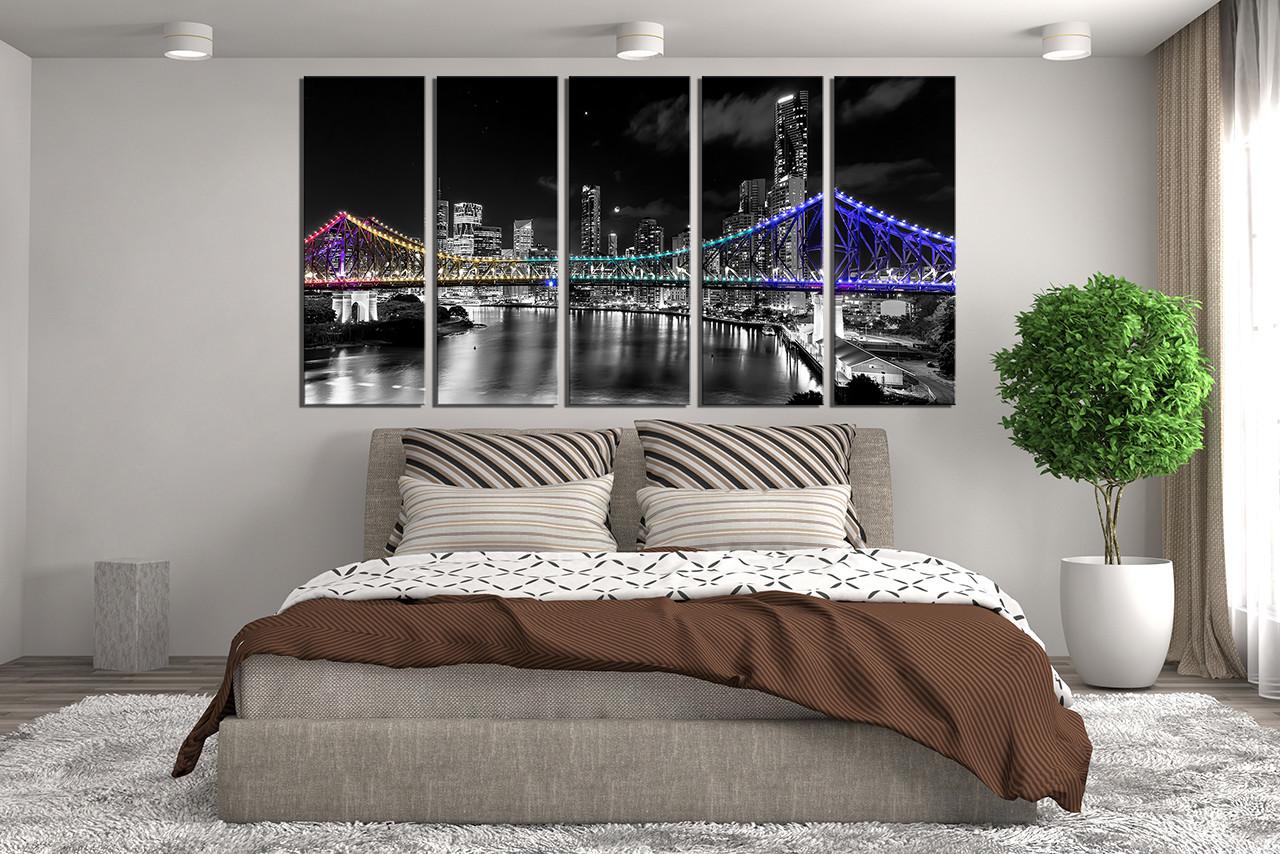 5 Piece Wall Decor, Bedroom Huge Canvas Print, Night City Large Canvas, City