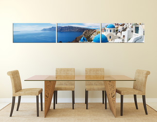 3 piece large canvas, dining room photo canvas, ocean wall art, white city art, city canvas print
