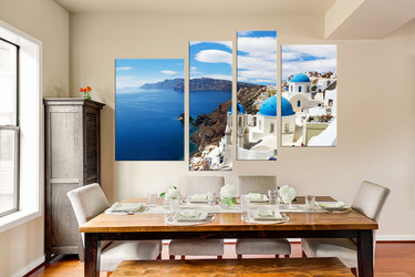4 piece canvas print, dining room artwork, white city group canvas, city wall decor, ocean wall art
