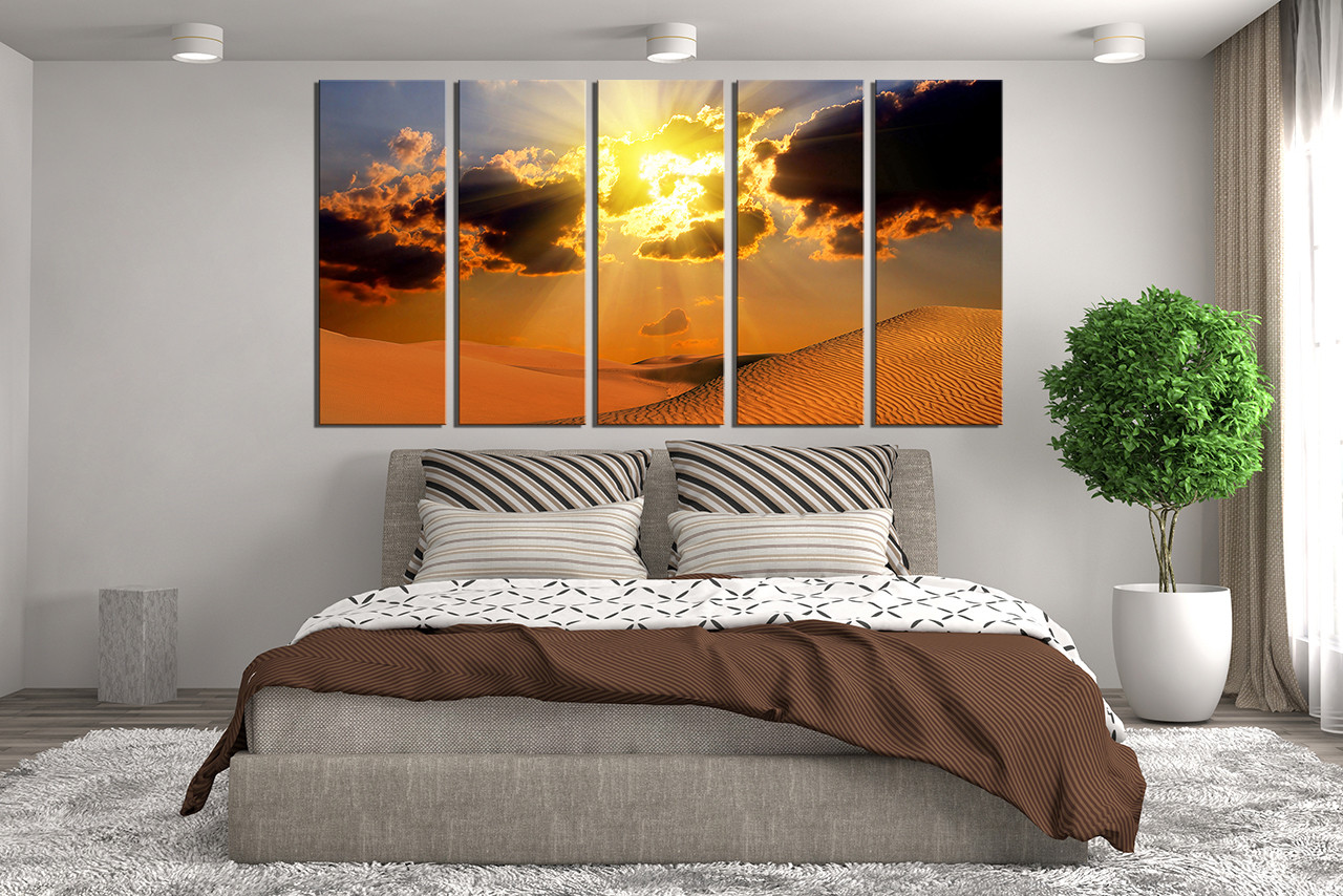 5 Piece Wall Decor Landscape Canvas Print Desert Huge Canvas Art Orange Canvas Art Prints
